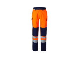 Orange and navy blue trousers